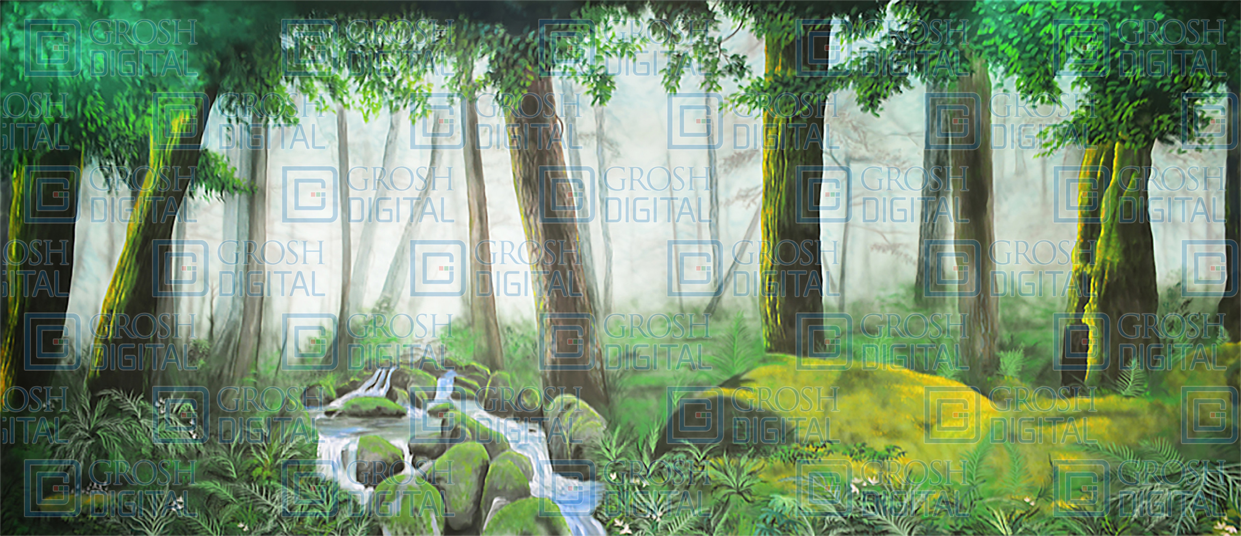 Mossy Forest 1 Projected Backdrop for Addams Family, Alice in Wonderland, Beauty and the Beast, Big Fish, Brigadoon, Cinderella, Forest, Into the Woods, Lion King, Madagascar, Peter Pan, Seven Brides for Seven Brothers, Shrek, Sleeping Beauty, Wizard of Oz