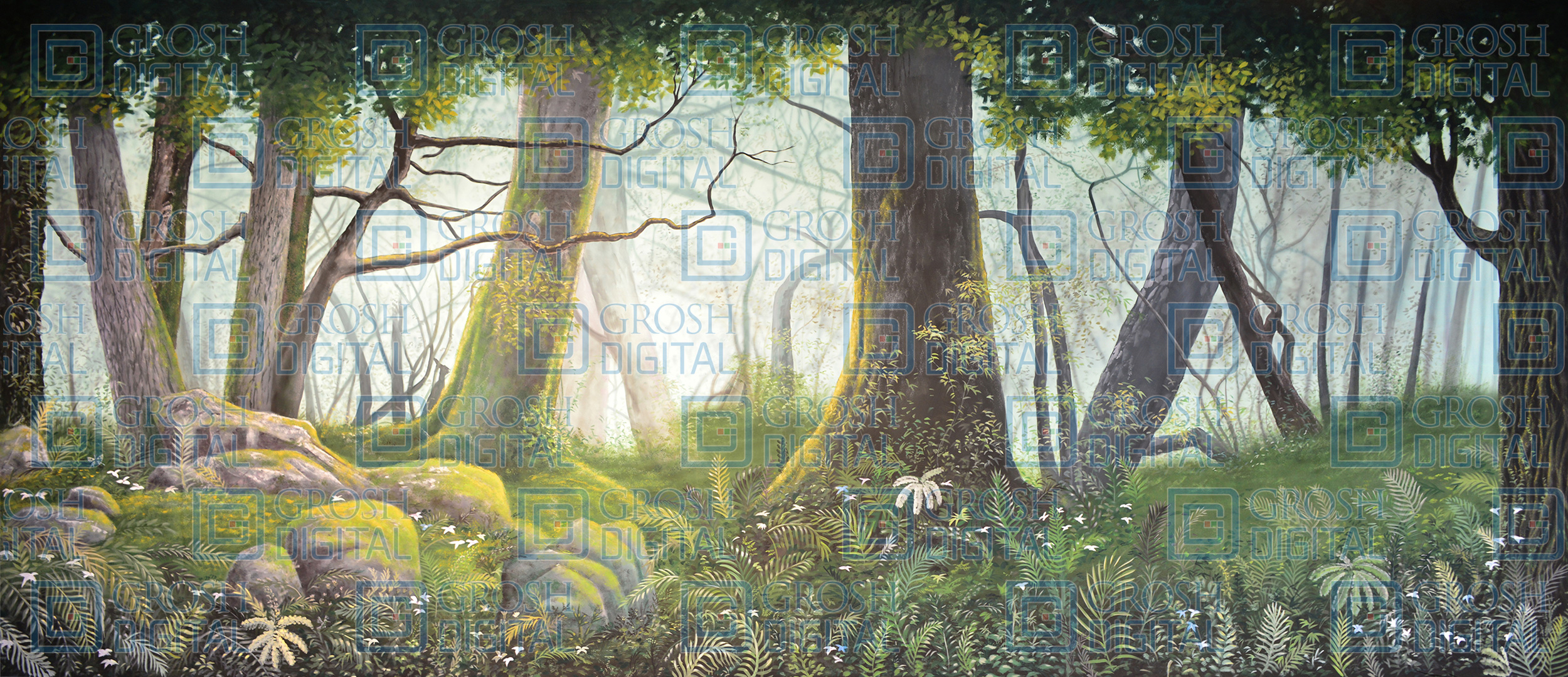 Mossy Forest Projected Backdrop for Addams Family, Alice in Wonderland, Beauty and the Beast, Big Fish, Brigadoon, Cinderella, Forest, Giselle, Into the Woods, Lion King, Madagascar, Peter Pan, Seven Brides for Seven Brothers, Shrek, Sleeping Beauty, Wizard of Oz