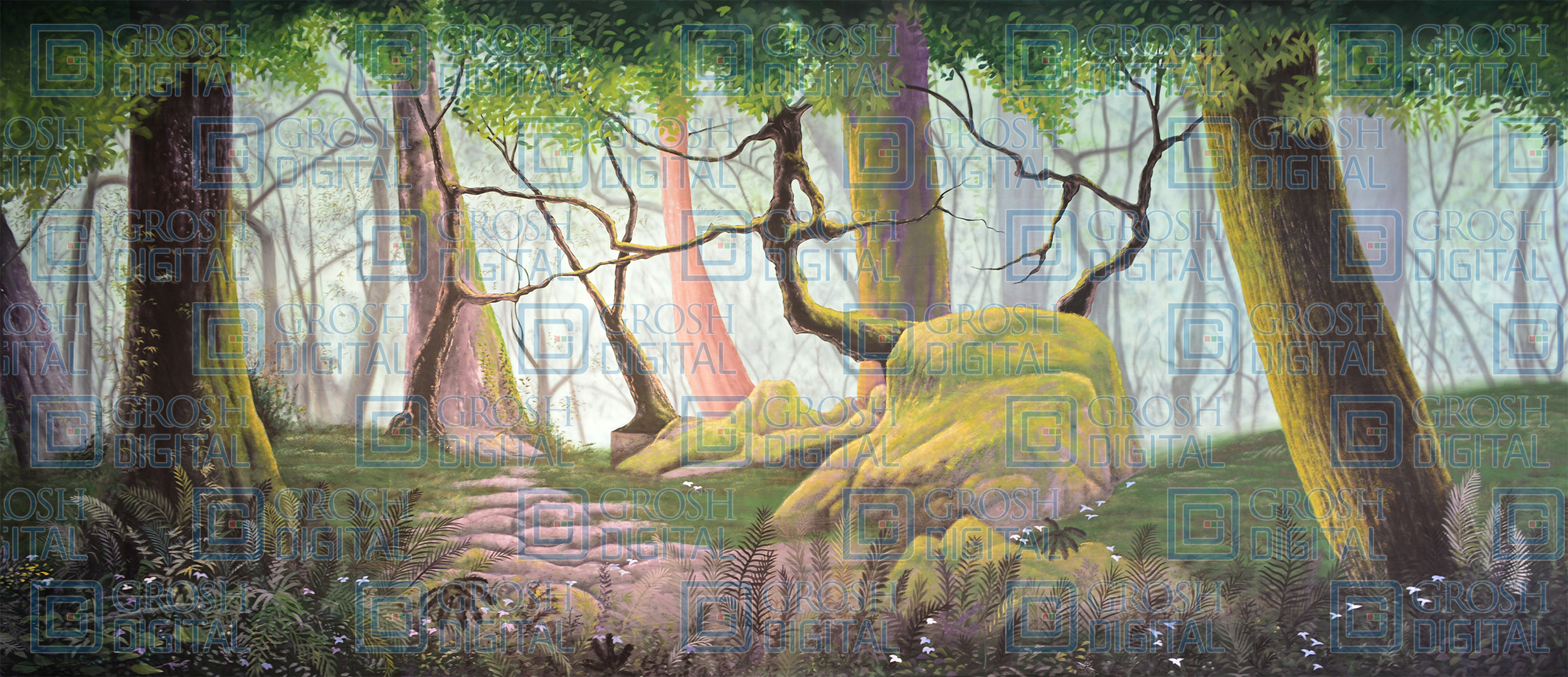 Forest Panel 4 Projected Backdrop for Addams Family, Beauty and the Beast, Big Fish, Brigadoon, Cinderella, Forest, Giselle, Lion King, Madagascar, Peter Pan, Seven Brides for Seven Brothers, Shrek, Sleeping Beauty, Wizard of Oz