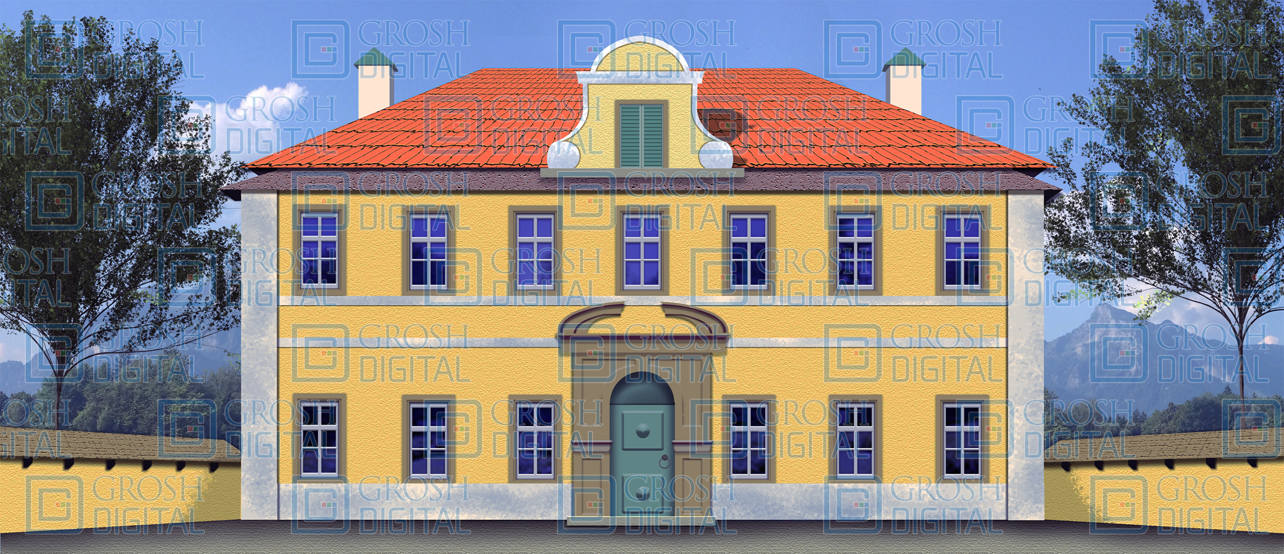 Villa Exterior Projected Backdrop for Beauty and the Beast, Sound of Music