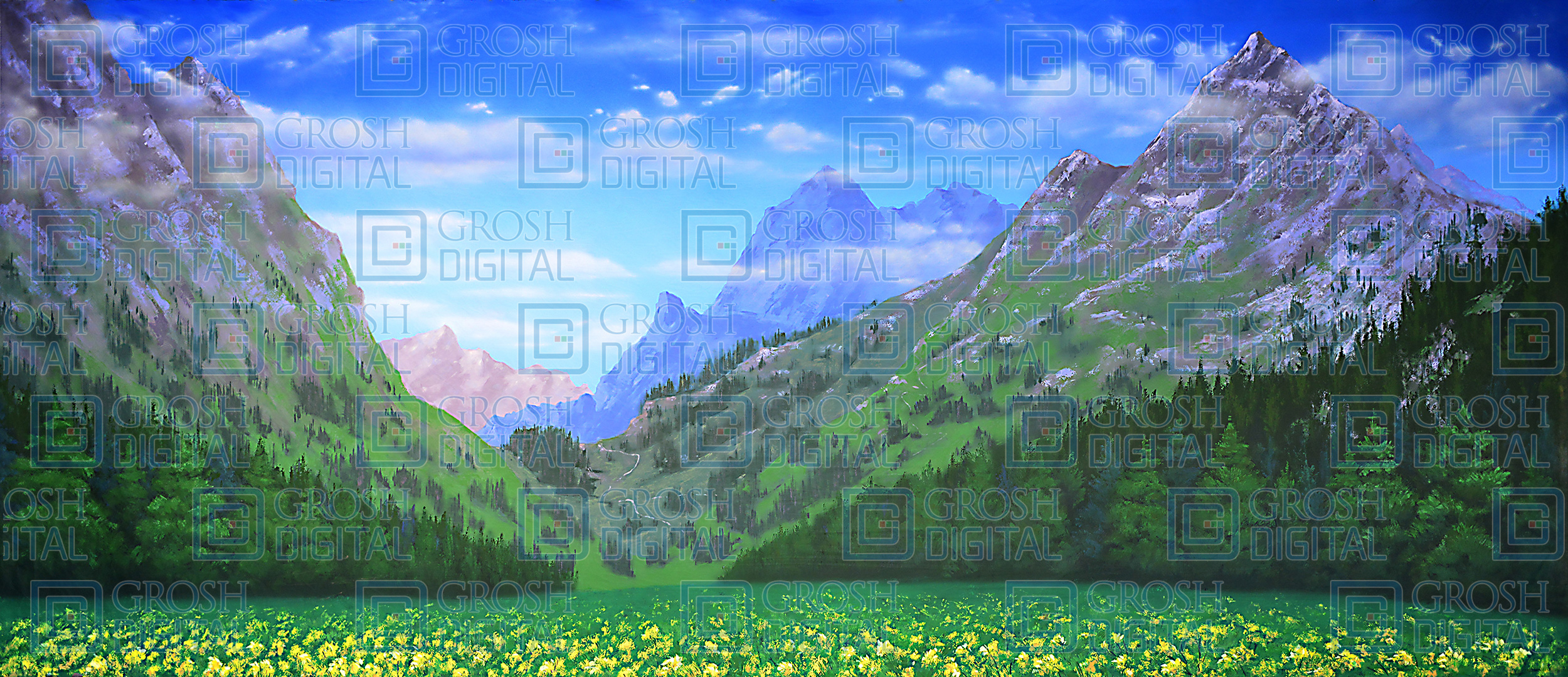 Mountain Landscape 3 Projected Backdrop for Brigadoon, Landscapes, Sound of Music