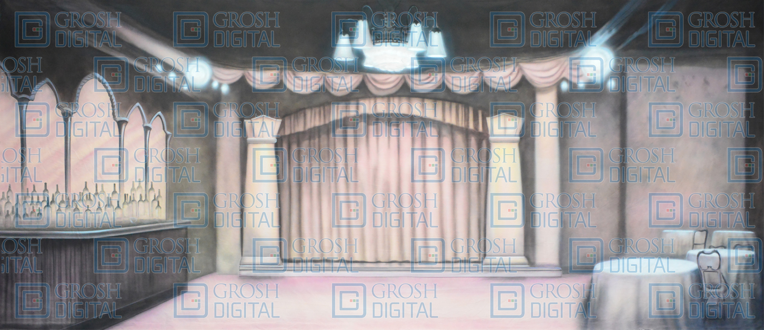 Speakeasy Projected Backdrop for 42nd Street, Interiors, Pajama Game, Thoroughly Modern Millie