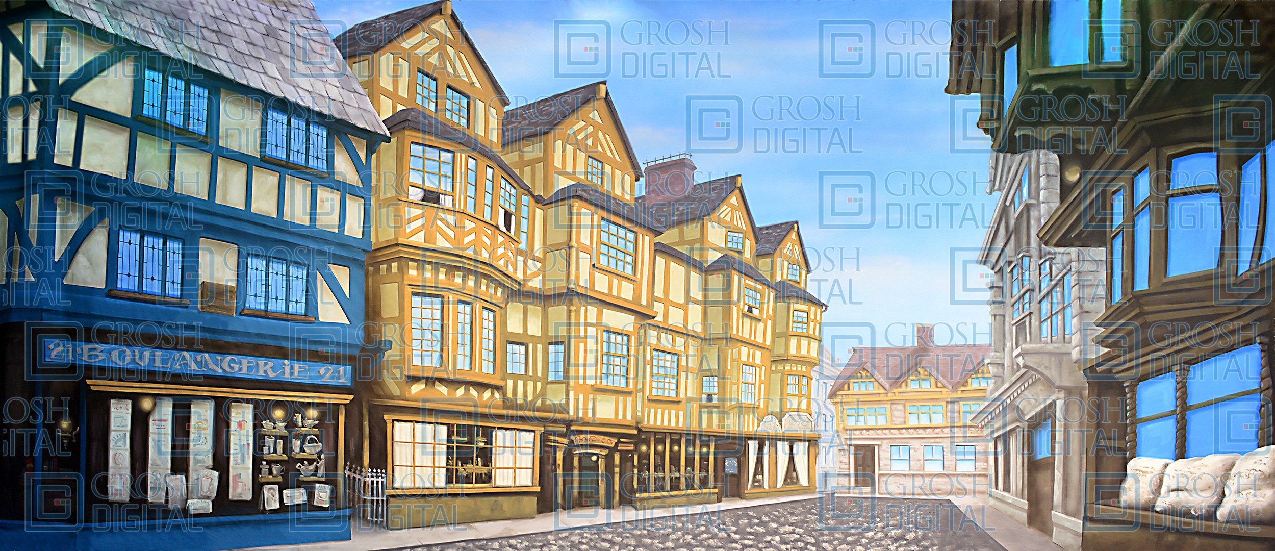 European Street 2 Projected Backdrop for Beauty and the Beast, Charlie and the Chocolate Factory, Frozen, Mary Poppins, Sleeping Beauty, Streets, Towns, Villages