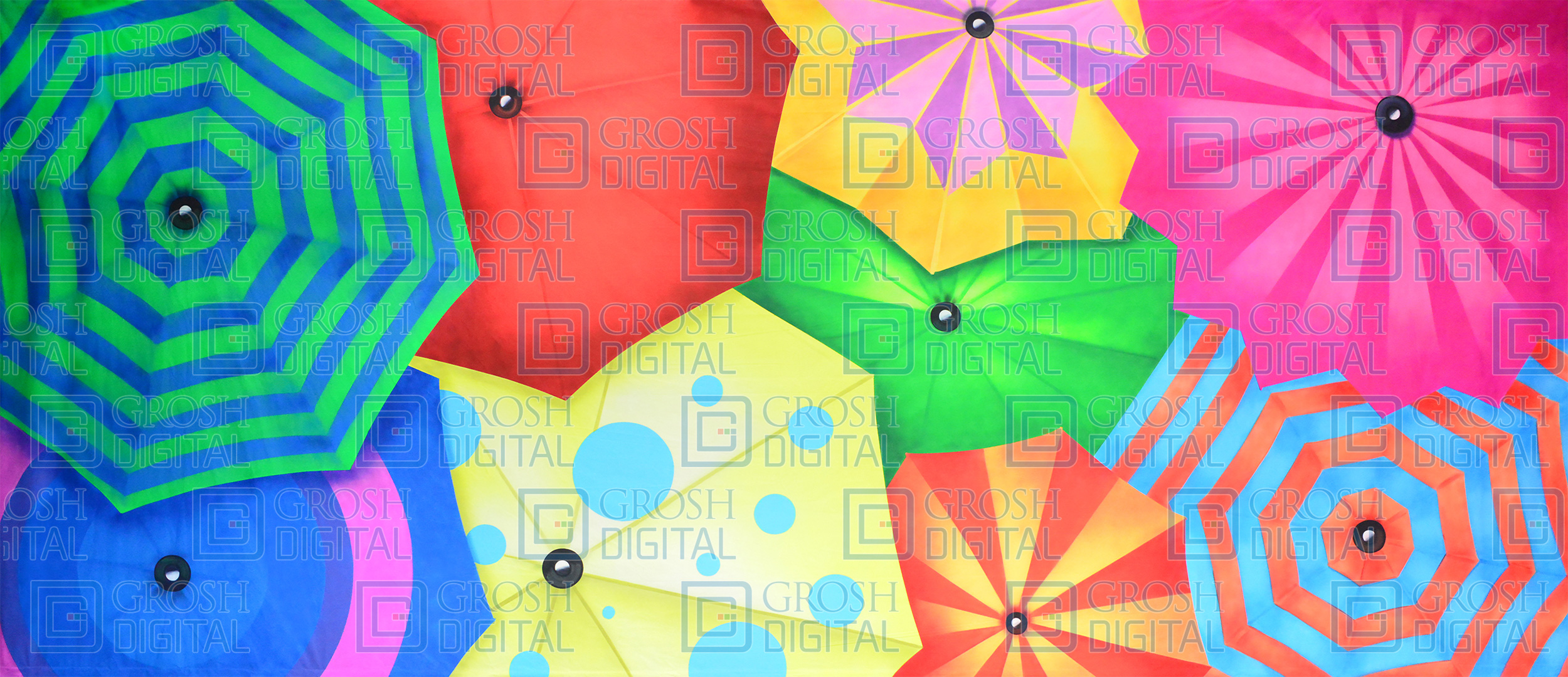 Colorful Umbrellas Projected Backdrop for Abstract, Dance