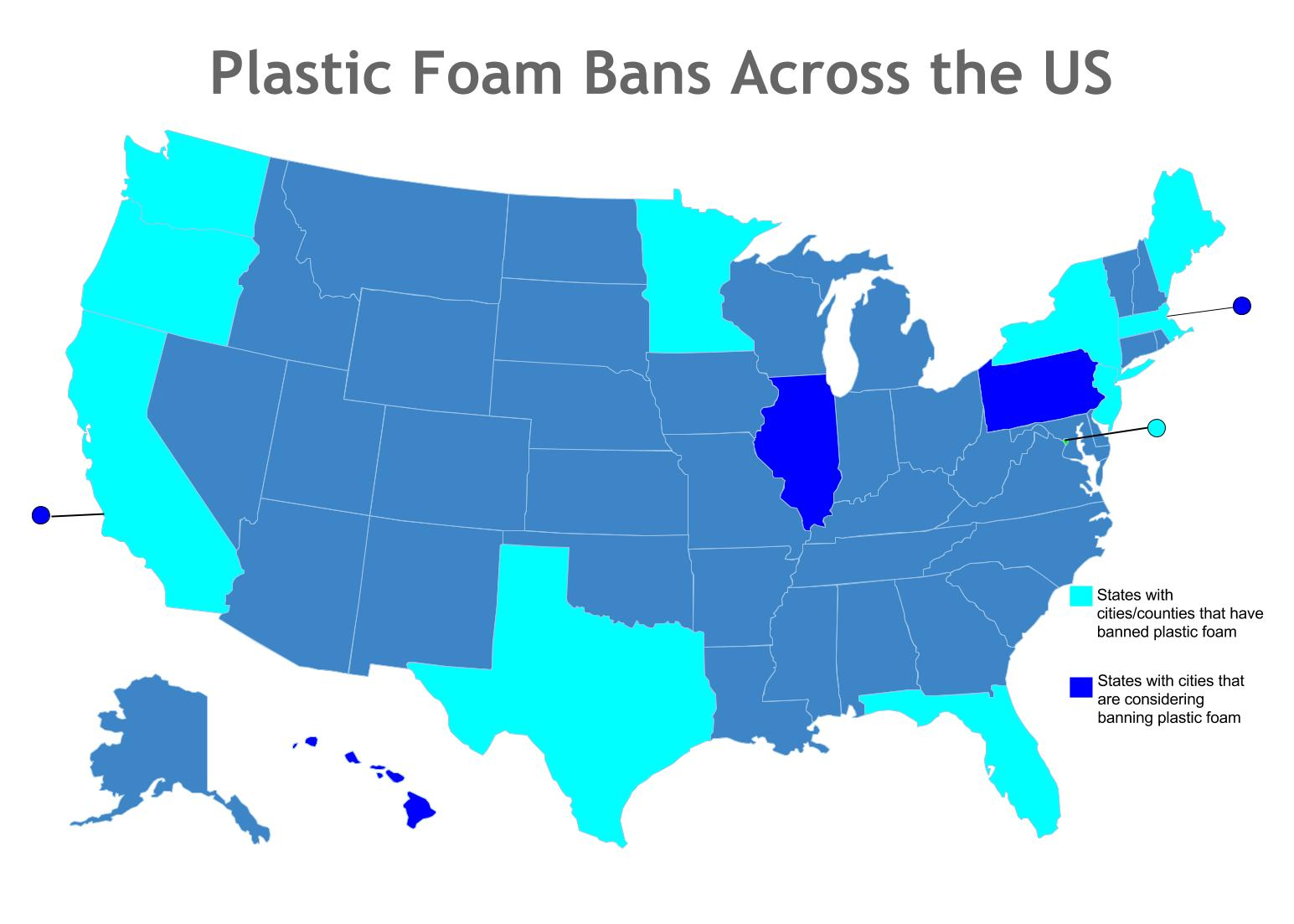 Map Which Cities Have Banned Plastic Foam Groundswell - Us-map-with-all-cities-and-states