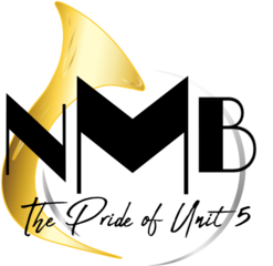 Nmb logo with black text gold horn