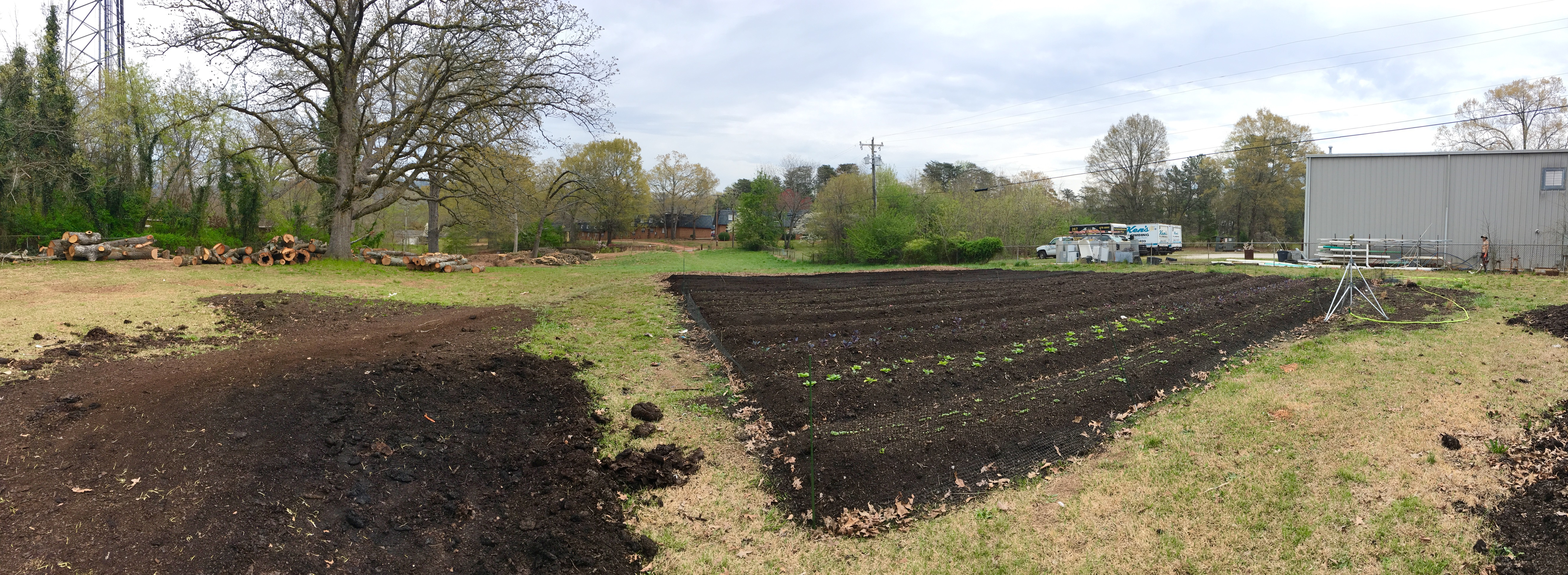 The first rows being installed at Oak Hill Cafe & Farm, in a no-till permaculture system. The farm isn't certified organic. but all of our methods meet or exceed the guidelines of the National Organic Program. No-till organic gardening