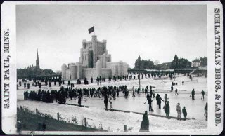 Outdoor curling matches in front of the ice castle at the 1886 St. Paul Winter Carnival // Photo courtesy of the Minnesota Historical Society