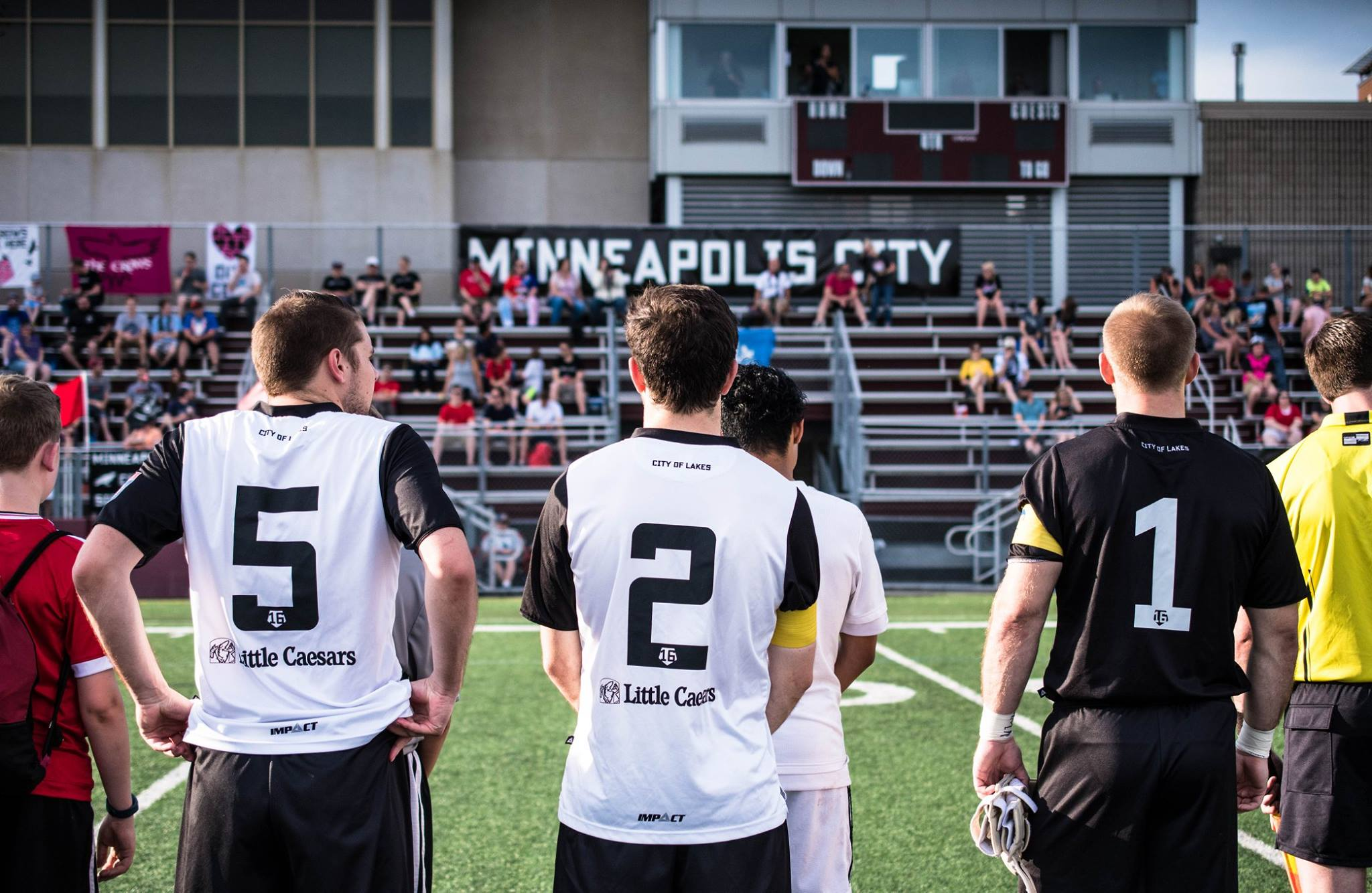 Minneapolis City SC's (L to R) AJ Albers, Aaron Olson, and Matt Elder before a home game at Augsburg College's Edor Nelson Field // Photo via Minneapolis City SC's Facebook