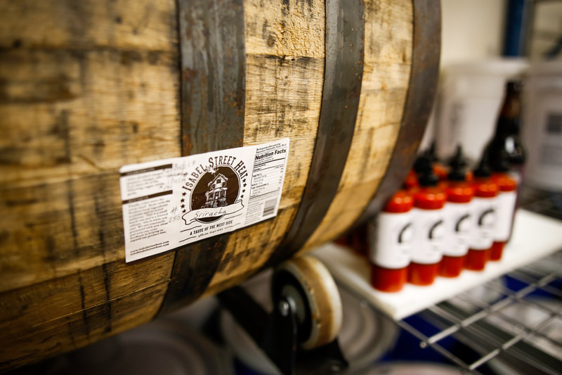 Stoy's sriracha barrel previously held Blume's Dark Fatha stout // Photo by Aaron Davidson, Growler Magazine