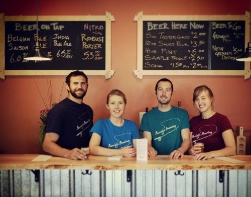 Bemidji Brewing Team from Left to Right: Justin (Bud) Kaney, Tina Hanke, Tom Hill, and Megan Betters