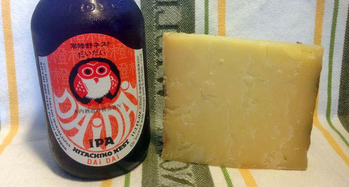 Blue Mont Bandaged Cheddar and Hitachino Nest IPA