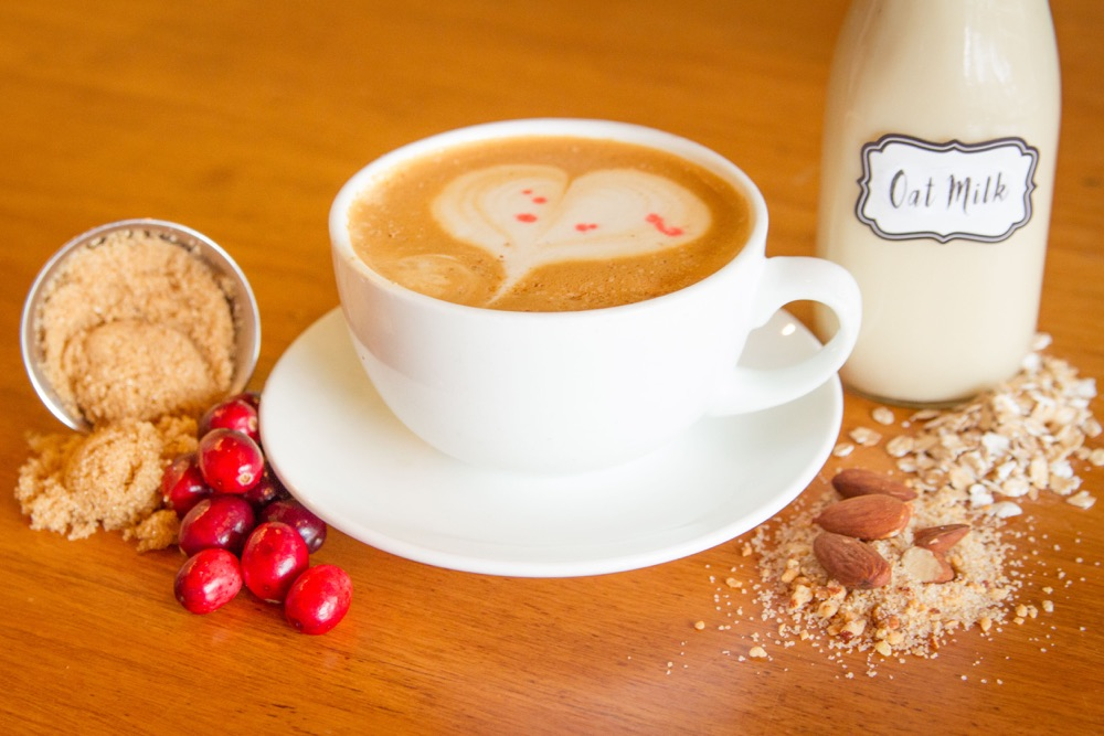 Peace Coffee's Cafe Havregrod is an oat milk latte with cranberry bitters
