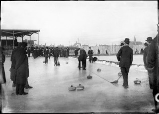 Outdoor curling matches in Minnesota circa 1900 // Photo courtesy of the Minnesota Historical Society