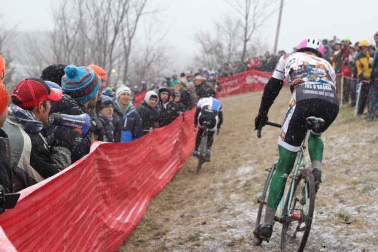 Rain, sleet, or snow, cyclocross racers hit the course // Photo by Jeff Frane