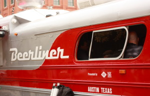 Texas beer at the Beerliner Bus // Photo by Brian Kaufenberg