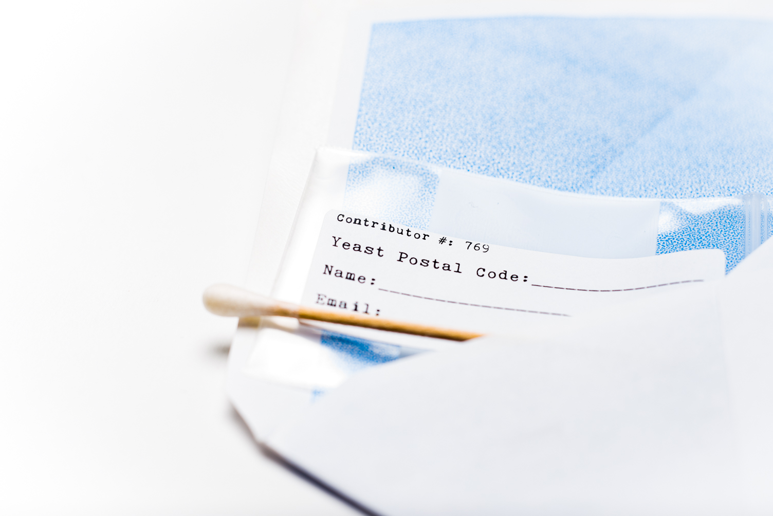 Swabs can be sent back to Bootleg Biology's lab via a self-addressed, stamped envelope included in the company's kit // Photo by Kevin Kramer, The Growler