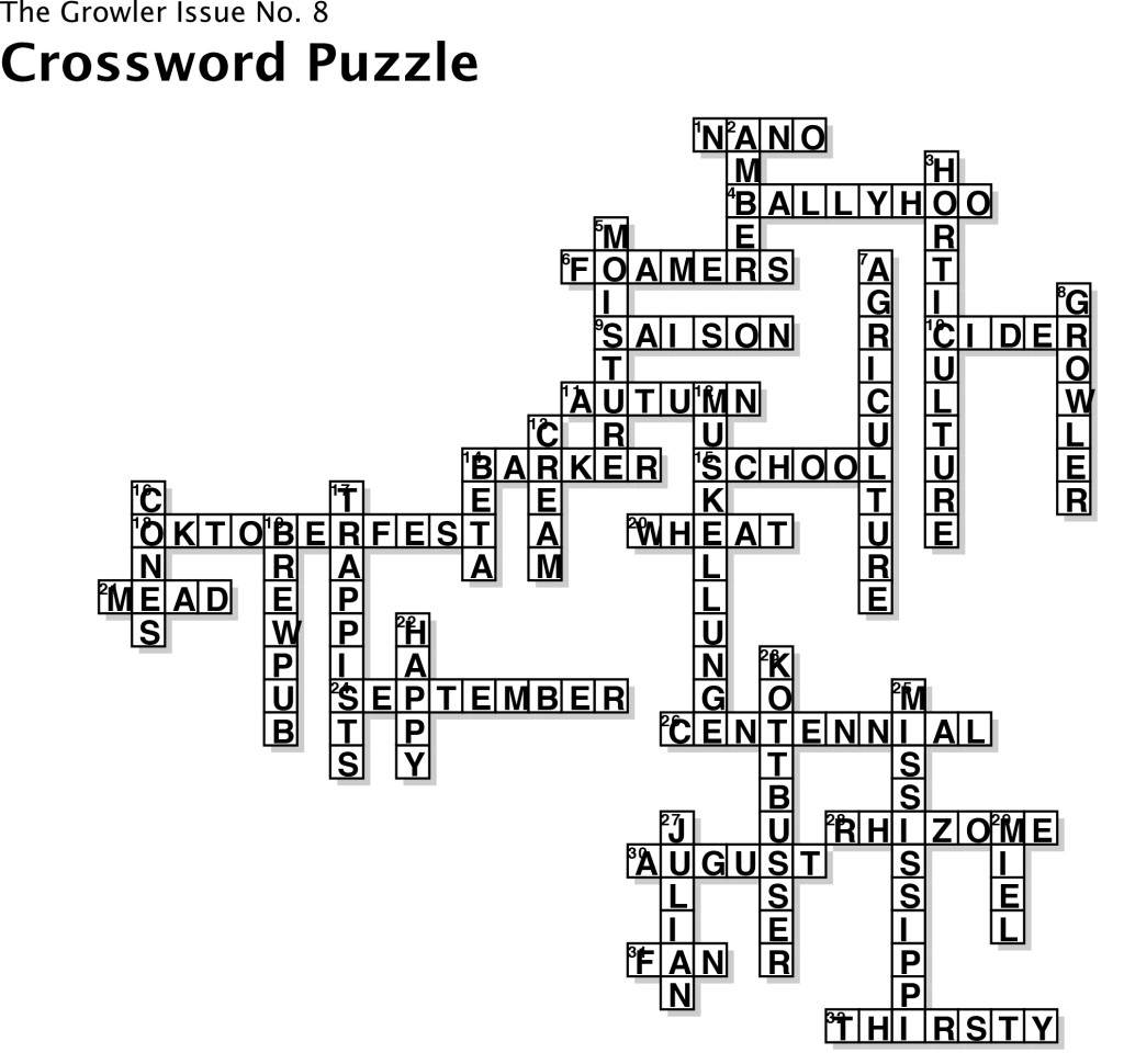 Issue 8 Crossword Puzzle Answer Key