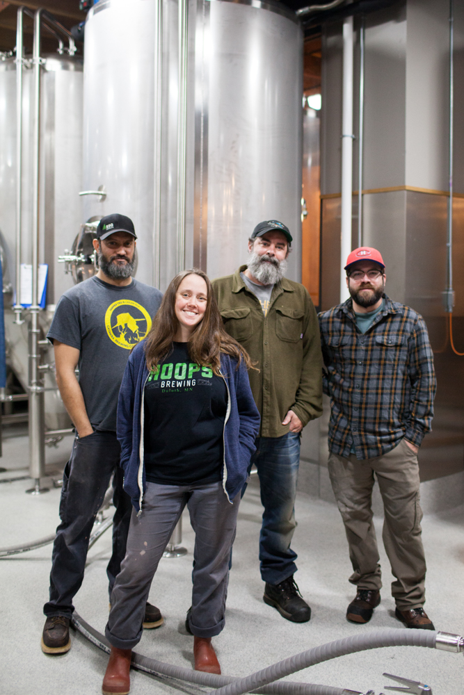 The Hoops Brewing team (L to R): ?, Melissa Rainville, Dave Hoops, and ? // Photo by JaneCane Photography