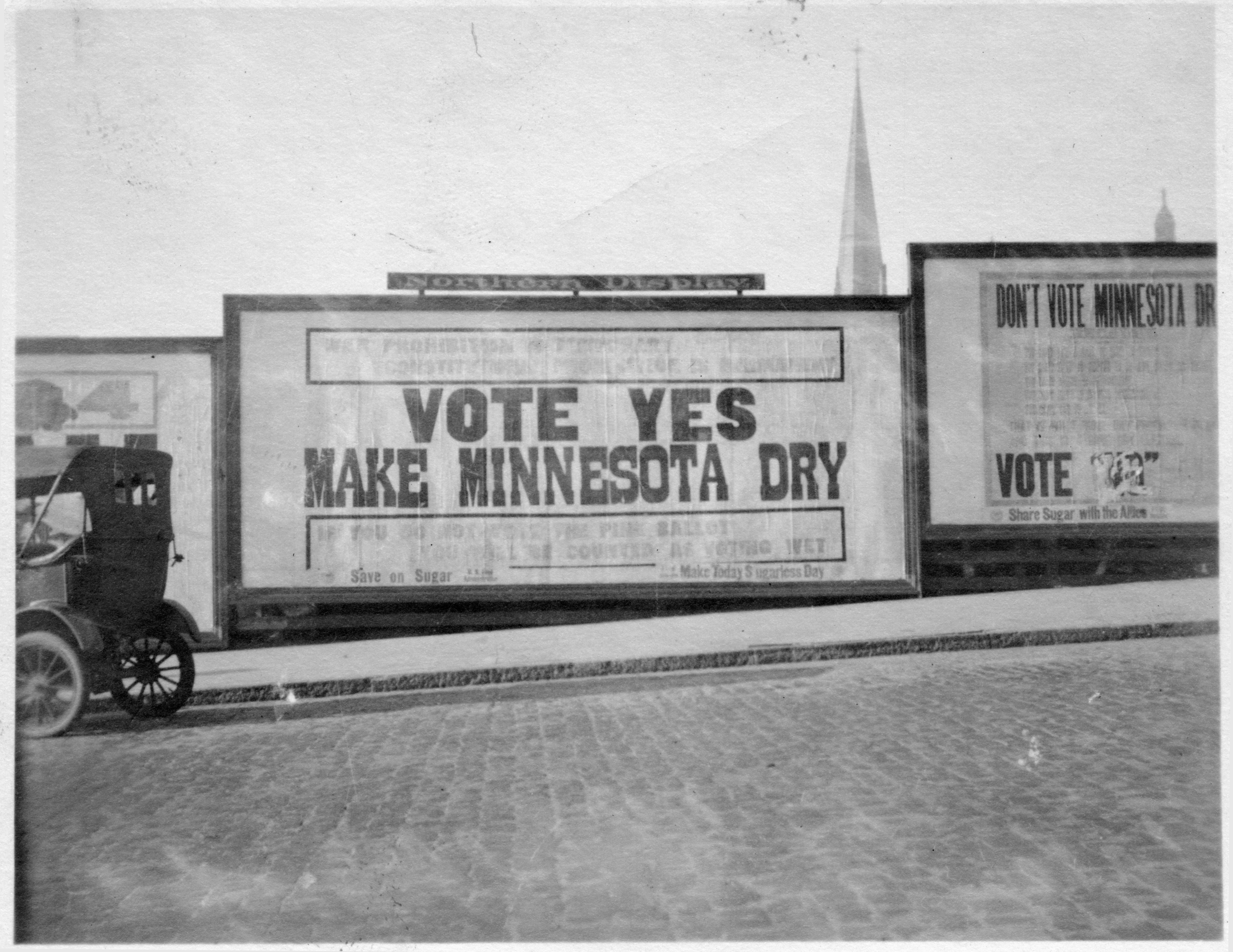 """""""Vote yes, make Minnesota dry"""" pro-constitutional prohibtion billboard, St. Paul"""