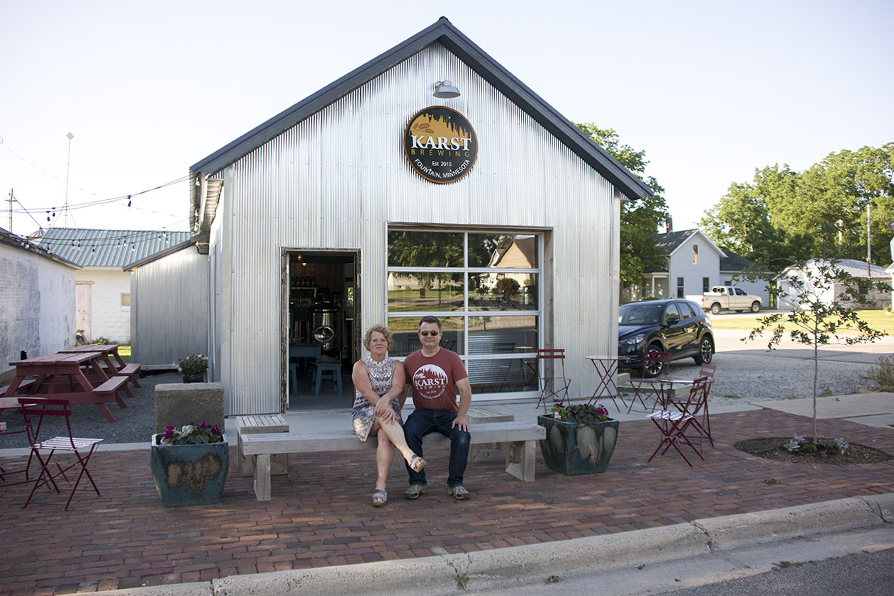 Sandra and Eric Luoma, owners of Karst Brewing in Fountain, Minnesota // Photo by Louis Garcia