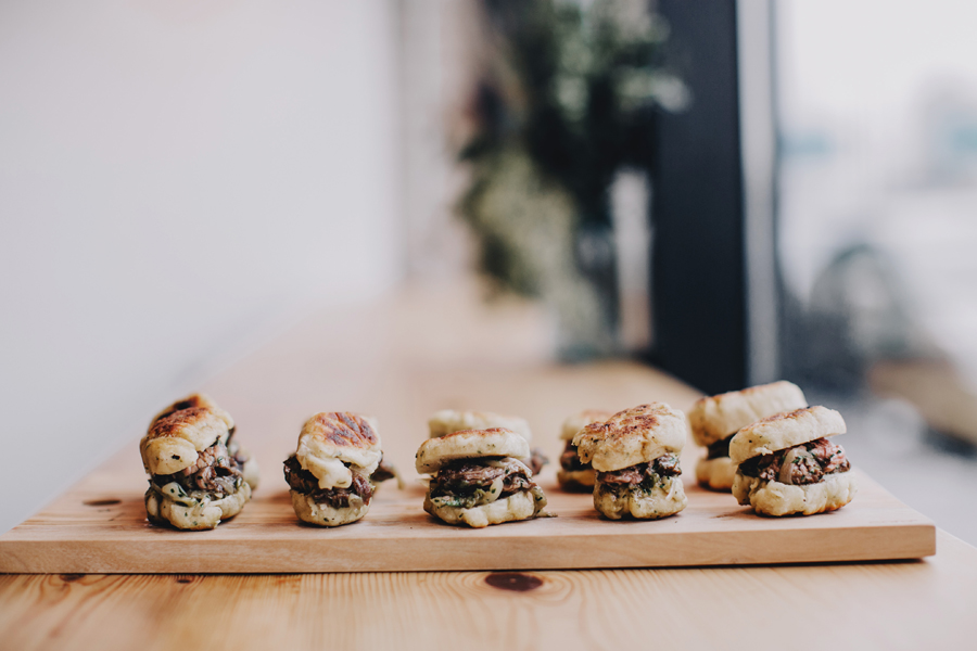 Marinated skirt steak fry bread sliders // Photo by Matt Lien