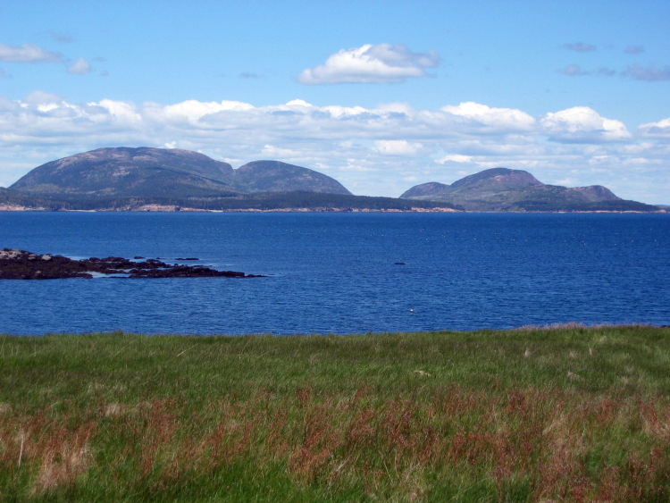 View of the mountains of Mount Desert Island as seen from Baker Island // Photo courtesy of NPS