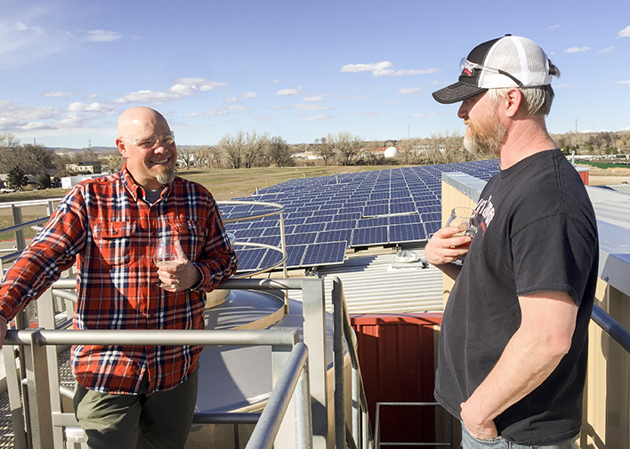 Brewmasters Bill Beymer (Odell) and Matt Hall (Lift Bridge) discussing the business of beer at Odell Brewing in March