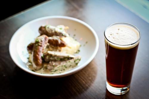 Bangers and Mash and Bell's Best Brown Ale - Pat's Tap