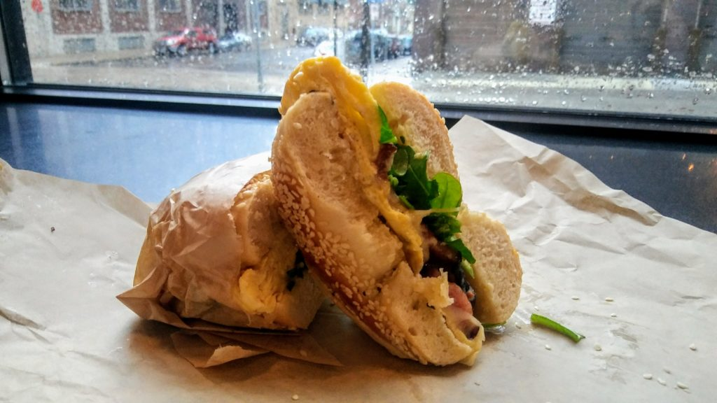 Artisan sandwich at Rise Bagel Co.