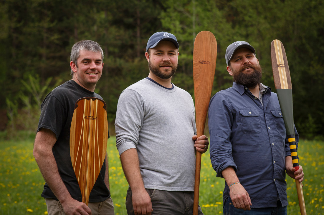 L to R: Chris Gilbertson, Todd Randall, and Zak Fellman of Sanborn Canoe Co. // Photo by Barbara O'Brien Photography
