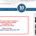 The TTB Website during the Government Shutdown