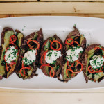 Roasted Sweet Potatoes with Lardons and Pickled Peppers Recipe