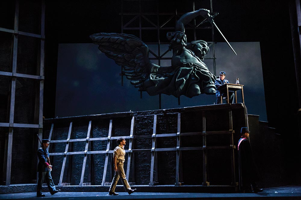 Cavaradossi (Capalbo) is lead to the firing squad // Photo courtesy of Minnesota Opera
