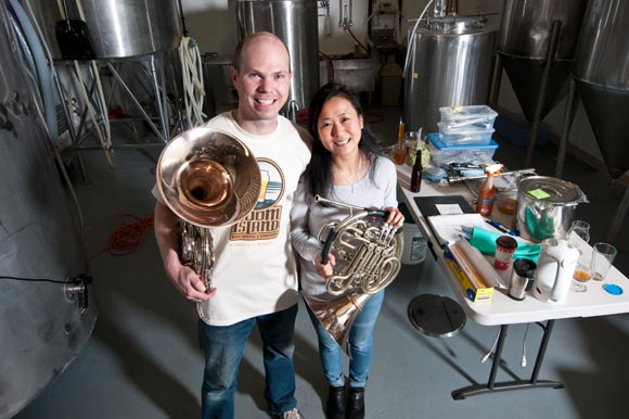 Kevin and Qiuzia Welch of Boom Island Brewing Company are both professional musicians and are using the new Boom Room Jazz series to bring music to their North Minneapolis neighborhood // Photo by Julie Kendrick for The Line Media