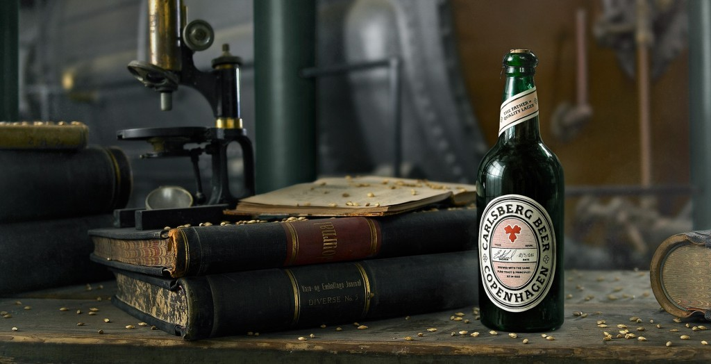 Carlsberg re-created the Father of Quality Lager, brewing it using the world's first pure yeast, extracted from an original living sample that survived 133 years in a Carlsberg bottle recently found in the brewery's old cellars. // Photo via Carlsberg
