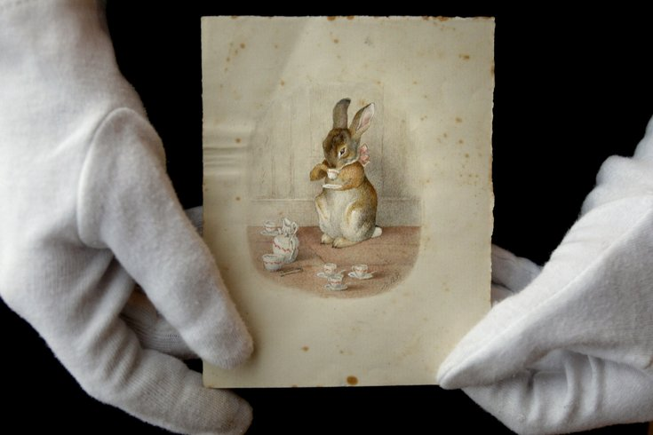 A Beatrix Potter illustration is displayed at Bonhams auction house in London in 2008 // Photo by Kirsty Wigglesworth for AP