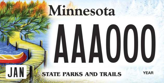 State officials on Wednesday unveiled the winner of a contest to pick a new license plate to benefit Minnesota state parks and trails. // Photo by Minnesota Department of Natural Resources