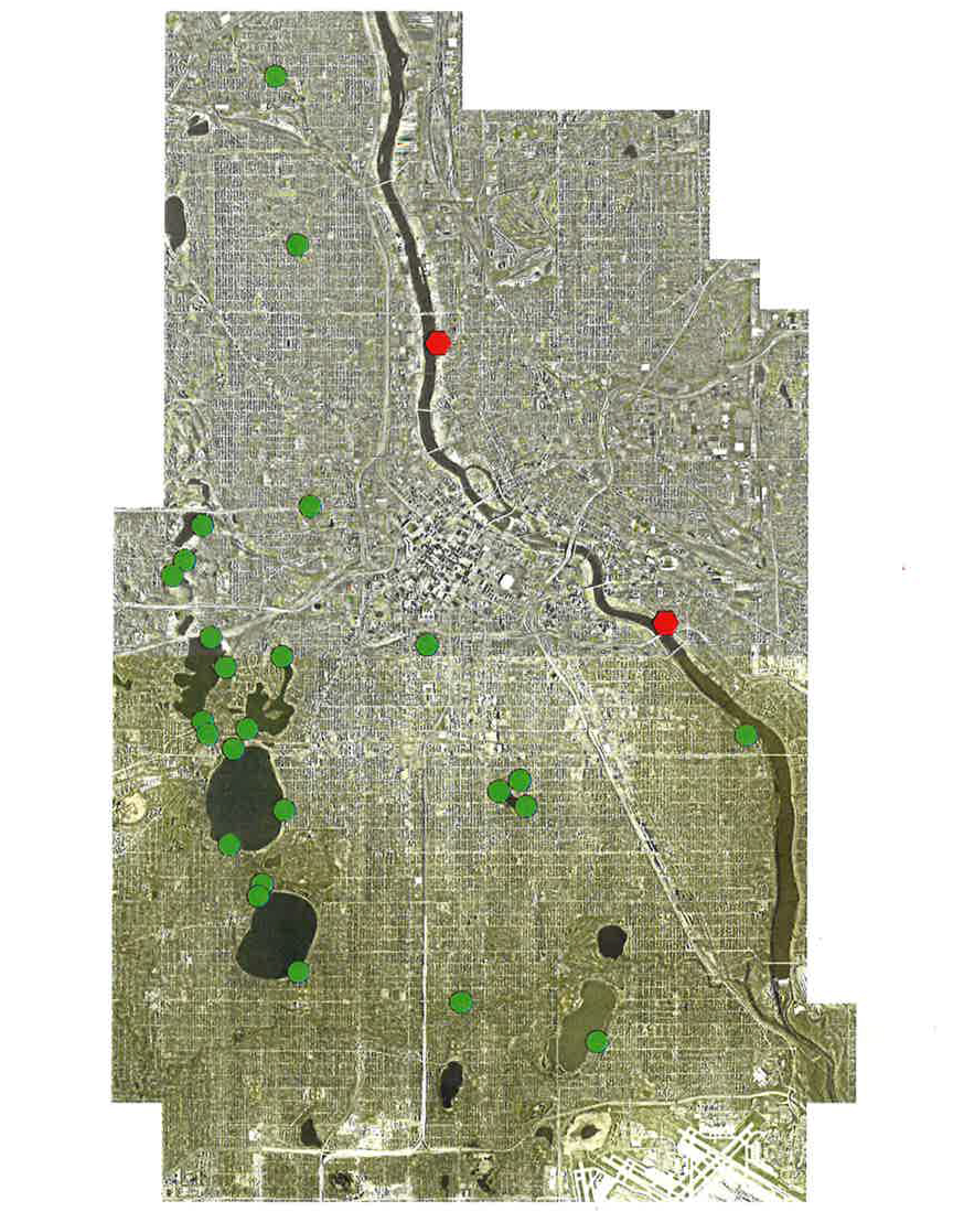 Minneapolis hand-pump drinking wells. Green dots are wells that are still open, red dots are wells that have been sealed // Image courtesy of the Minneapolis Parks and Recreation Board
