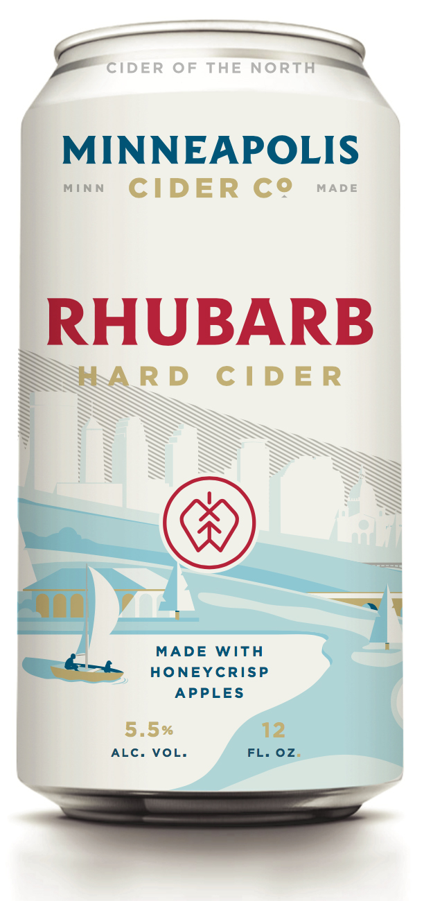 Minneapolis Cider Company's can design for its Rhubarb Hard Cider // Image courtesy of Minneapolis Cider Company