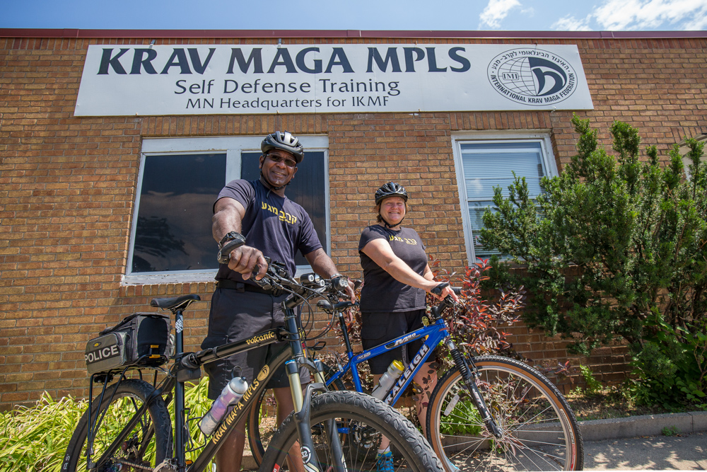 Dante Pastrano and Gail Boxrud, owners of Krav Maga Minneapolis, teach self-defense courses for cyclists // Photo by Ryan Siverson