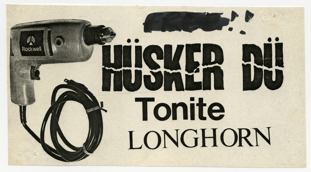 Handbill for Hüsker Dü concert at Jay's Longhorn Bar // Image courtesy of Minnesota Historical Society