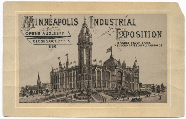 Advertisement for the first Industrial Exposition with image of new building, 1886. // Image courtesy of Minnesota Historical Society