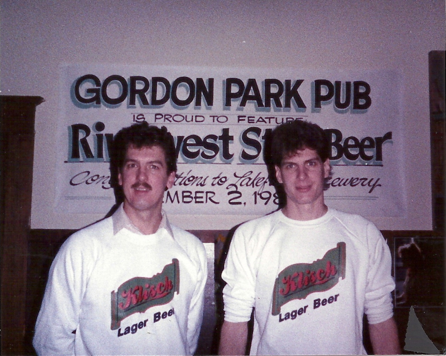 Jim and Russ Klisch pouring their first beer, Riverwest Stein Amber Lager at Gordon Park Pub in Milwaukee // Photo courtesy of Lakefront Brewery