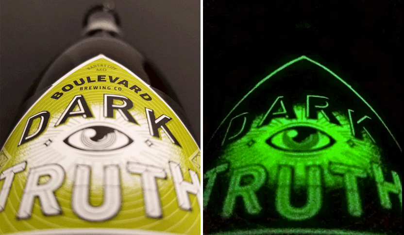 Boulevard Brewing's Dark Truth sports a glow-in-the-dark label // Photos via Boulevard Brewing's Twitter
