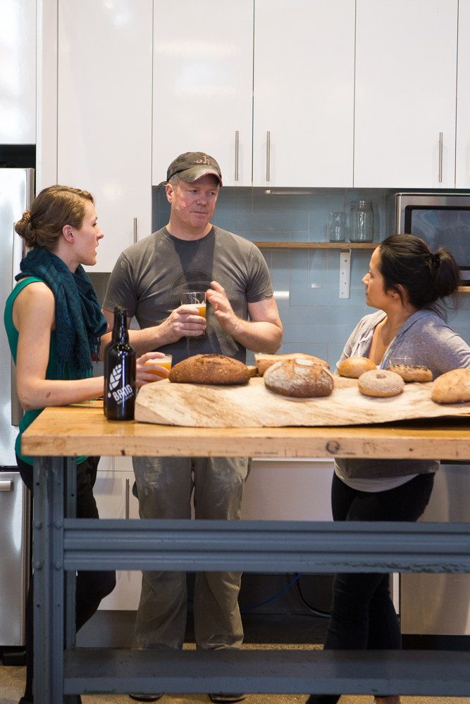 Kelsey McCreight, Steve Horton, and Diane Yang get into the nitty gritty of bread baking // Photo by Wing Ta