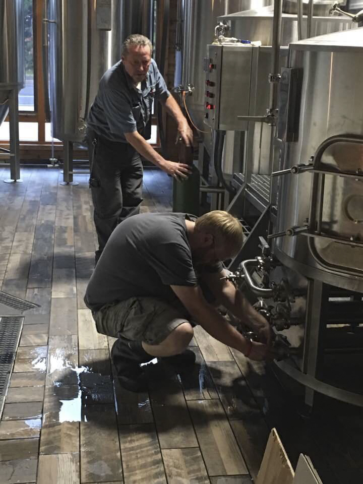 Dan Trombley (right) is in charge of brewing operations at 14 Lakes Brewery, co-owned by Steve Guttormson (left) // Photo via 14 Lakes Brewery's Facebook