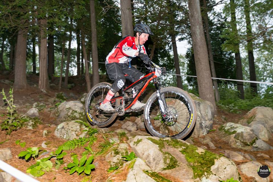 A COGGS rider navigates a rock garden at Spirit Mountain during a Duluth Enduro Series race in 2016 // Photo courtesy of COGGS
