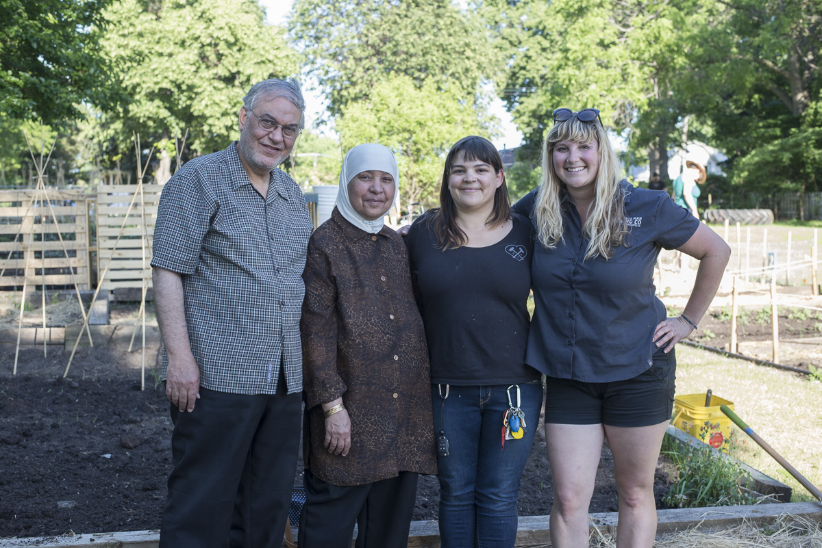 L to R: Imam Dr. Hamdy El-Sawaf, ?, Hilari Bandow, and Hilary Hazzard came together to make Sheridan Community Garden a reality // Photo by Max Lee