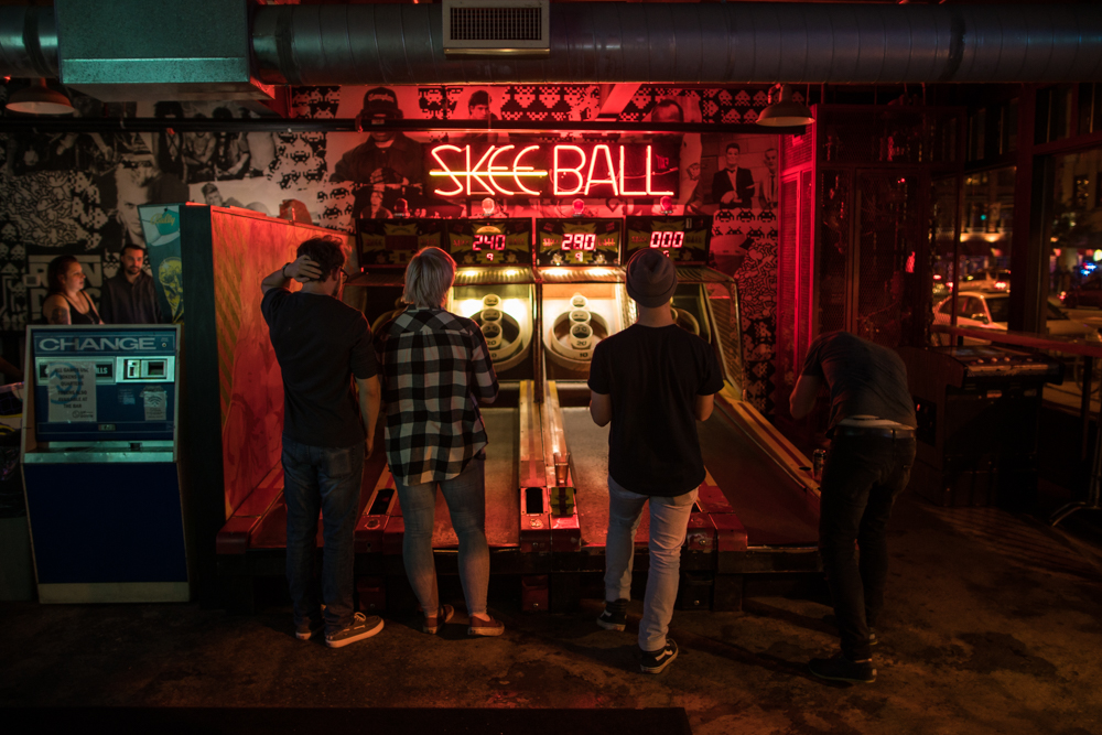 Skee Ball is one of the classic arcade games that taps into the nostalgia of childhood at Up-Down // Photo by Jordan Johnson